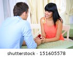 man proposing engagement ring... | Shutterstock . vector #151605578