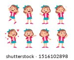 cute kid with many gesture...   Shutterstock .eps vector #1516102898