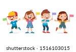 cute happy kid hold flag... | Shutterstock .eps vector #1516103015