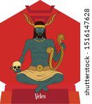 Illustration vector isolated of Slavic Mythical god, Veles, Forest god, Underworld god, Music god