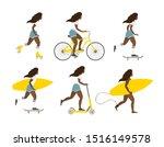 vector flat cartoon set of... | Shutterstock .eps vector #1516149578