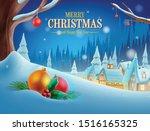 christmas village illustration... | Shutterstock .eps vector #1516165325