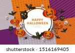 happy halloween   spooky banner ... | Shutterstock .eps vector #1516169405