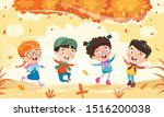 children using umbrella under... | Shutterstock .eps vector #1516200038