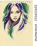 beautiful woman face.... | Shutterstock . vector #151621652