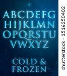 frozen letters with ice texture | Shutterstock . vector #1516250402