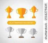 flat trophy icon design set ...