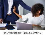 Small photo of Young Woman Harassed By A Man At Work