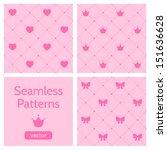 set of cute pink girlish... | Shutterstock .eps vector #151636628