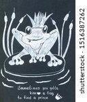 White Ink Illustration Of Frog...