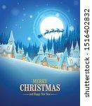 illustration christmas village... | Shutterstock .eps vector #1516402832
