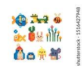 Stock vector different cartoon animal characters pixel art icons set fish tropical lizard bee baby carrot 1516427948