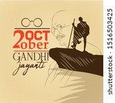 gandhi jayanti and 2 october... | Shutterstock .eps vector #1516503425