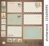 Vector Set  Vintage Postcard...