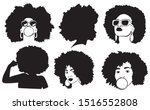 set of female afro hairstyles... | Shutterstock .eps vector #1516552808
