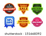 six colorful discount and... | Shutterstock .eps vector #151668392