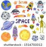 space clipart set  hand drawn... | Shutterstock . vector #1516703312