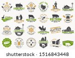 american farm and honey bee... | Shutterstock .eps vector #1516843448
