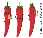 Vector Icon Cartoon Red Chilli...