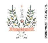 floral retro wedding invitation ...   Shutterstock .eps vector #151687976