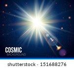 Bright Sun Burst. Cosmic...