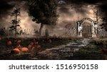 Gothic Landscape With Pumpkins...