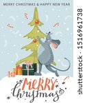cute mouse decorate christmas... | Shutterstock .eps vector #1516961738