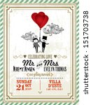 vintage wedding invitation card ... | Shutterstock .eps vector #151703738