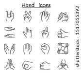 hand icon set in thin line style | Shutterstock .eps vector #1517055392