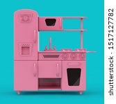 pink vintage toy kitchen mockup ... | Shutterstock . vector #1517127782