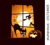 Stock vector halloween scene view from window 151714835
