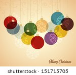 retro christmas background with ... | Shutterstock .eps vector #151715705