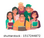 group of students. boys and... | Shutterstock .eps vector #1517244872