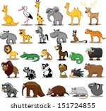 Stock vector set of cute cartoon animals 151724855