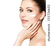 young woman with cosmetic ... | Shutterstock . vector #151726652