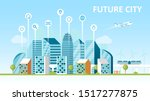 smart city concept. city of the ... | Shutterstock .eps vector #1517277875
