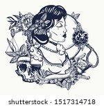 retro woman portrait. noir film ... | Shutterstock .eps vector #1517314718