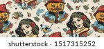 halloween seamless pattern. old ... | Shutterstock .eps vector #1517315252