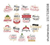 merry christmas typography set... | Shutterstock .eps vector #1517328038