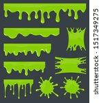 green slime. halloween ooze ... | Shutterstock .eps vector #1517349275
