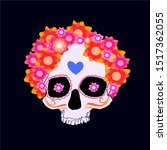 day of the dead skull with... | Shutterstock .eps vector #1517362055