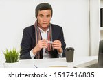 asian man in a hat  scarf and...   Shutterstock . vector #1517416835