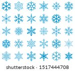 snowflakes vector icon set on... | Shutterstock .eps vector #1517444708