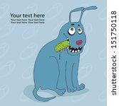 funny blue dog eating slipper   Shutterstock .eps vector #151750118