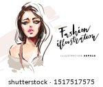 beautiful young woman face...   Shutterstock .eps vector #1517517575