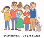 smiling 3 generation family and ... | Shutterstock . vector #1517552285