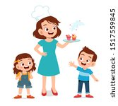 happy cute chef mom cook... | Shutterstock .eps vector #1517559845