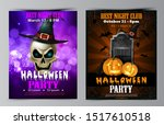 halloween party flyer with... | Shutterstock .eps vector #1517610518