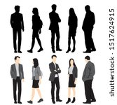 silhouettes of men and women... | Shutterstock .eps vector #1517624915