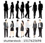 silhouettes of men and women... | Shutterstock .eps vector #1517625698